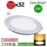 6 Watt 4 Inch LED Downlight Energy Saving Lighting Round Warm White 32pcs Package